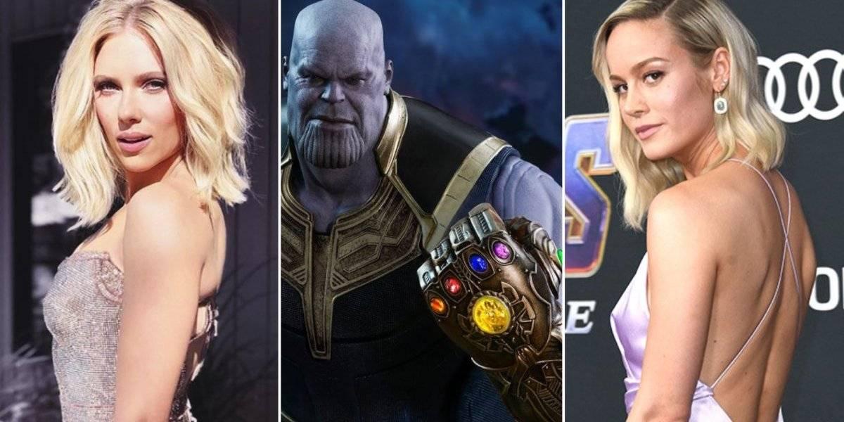Brie Larson e Scarlett Johansson usam 'Manopla do Infinito' personalizada e arrasam em looks da pré-estreia de 'Vingadores: Ultimato'