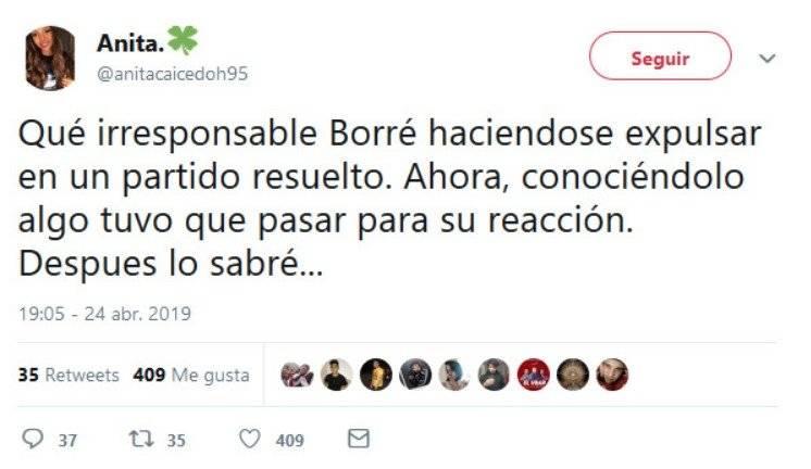 El tuit de esposa de Rafael Santos Borré