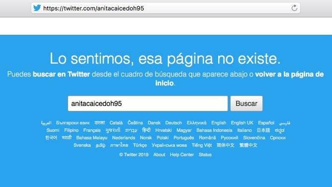 Perfil en Twitter de Ana Caicedo