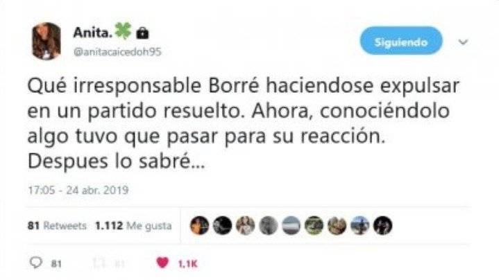 Tuit de esposa de Rafael Santos Borré