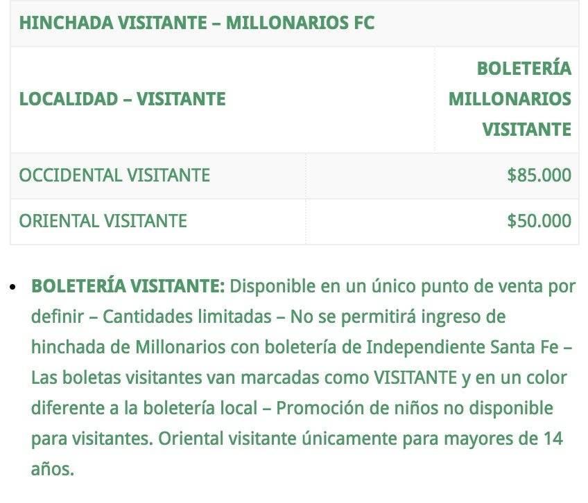 2. Precios Santa Fe VS Millonarios Fecha 19