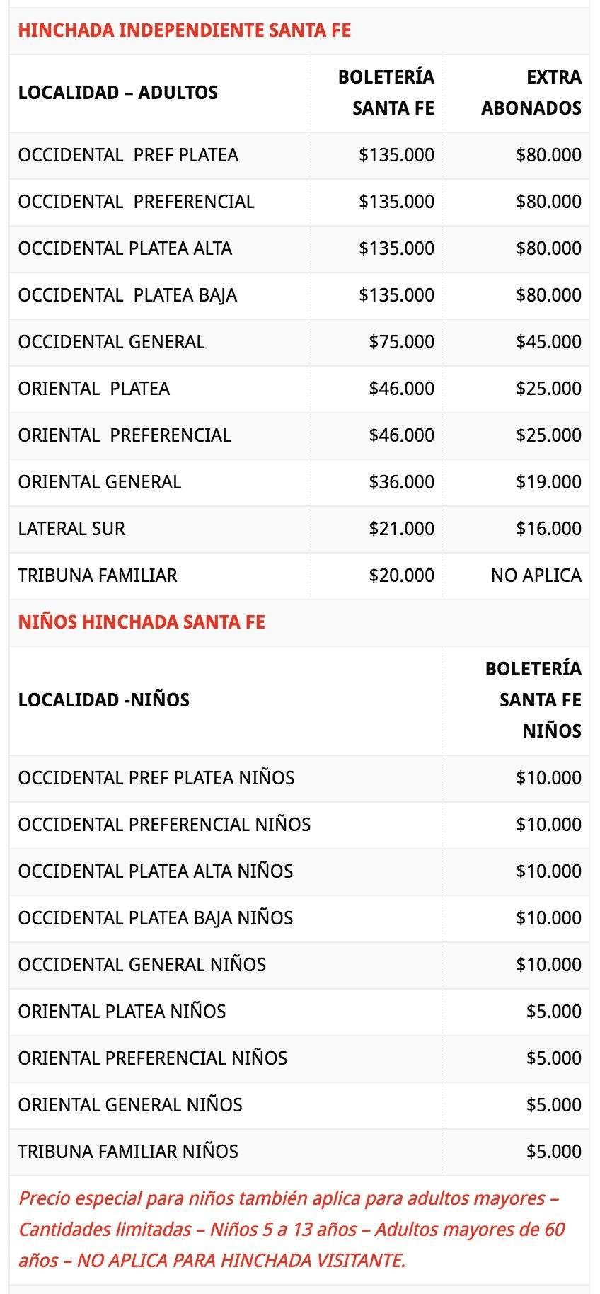 Precios Santa Fe VS Millonarios Fecha 19