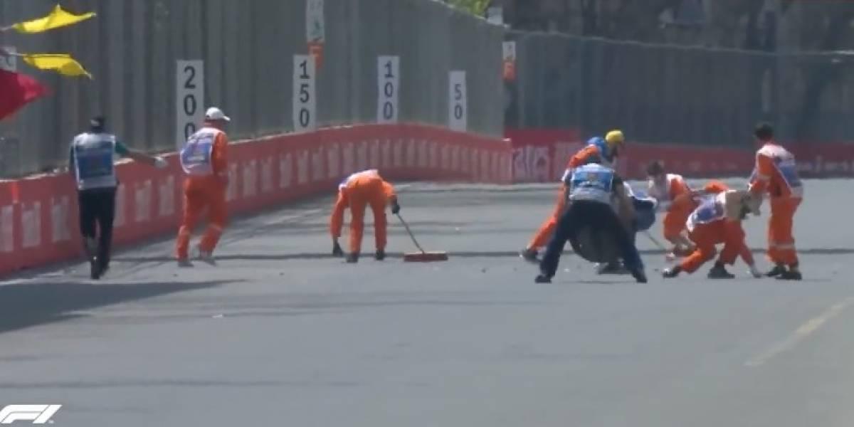 VIDEO: La alcantarilla que dañó un Williams en las pruebas del GP de Azerbaiyán
