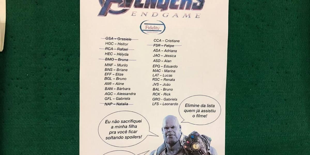 'Vingadores: Ultimato': Para escapar dos spoilers, empresa faz lista com funcionários que já assistiram filme