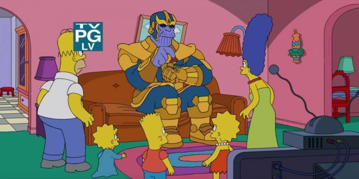 Los Simpsons le rinde homenaje a Thanos y los Avengers en la típica escena del sofá