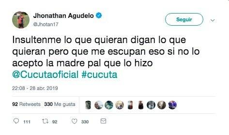 Escupieron a Jonathan Agudelo