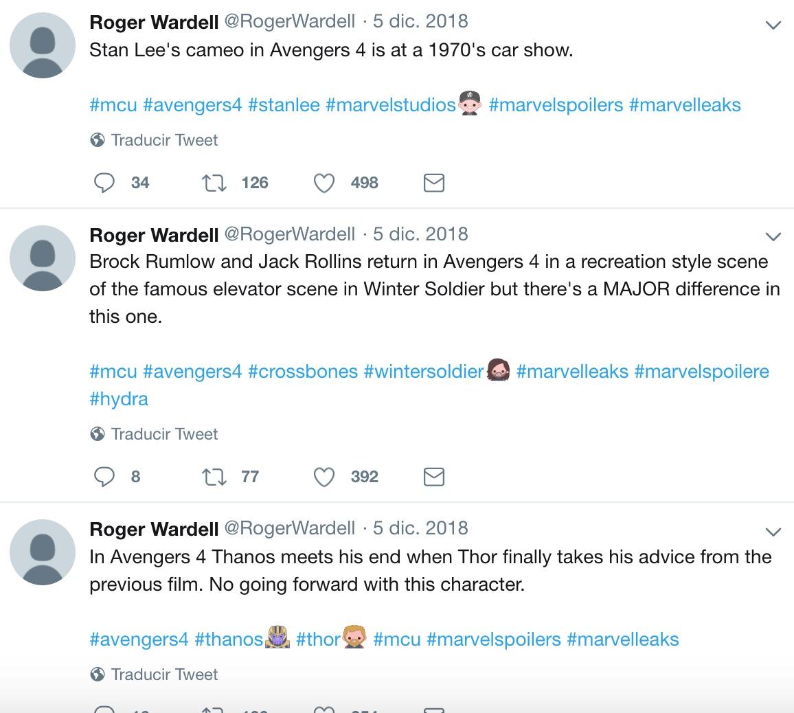 """Una misteriosa y anónima cuenta de Twitter filtró """"Avengers: Endgame"""" desde el año pasado"""