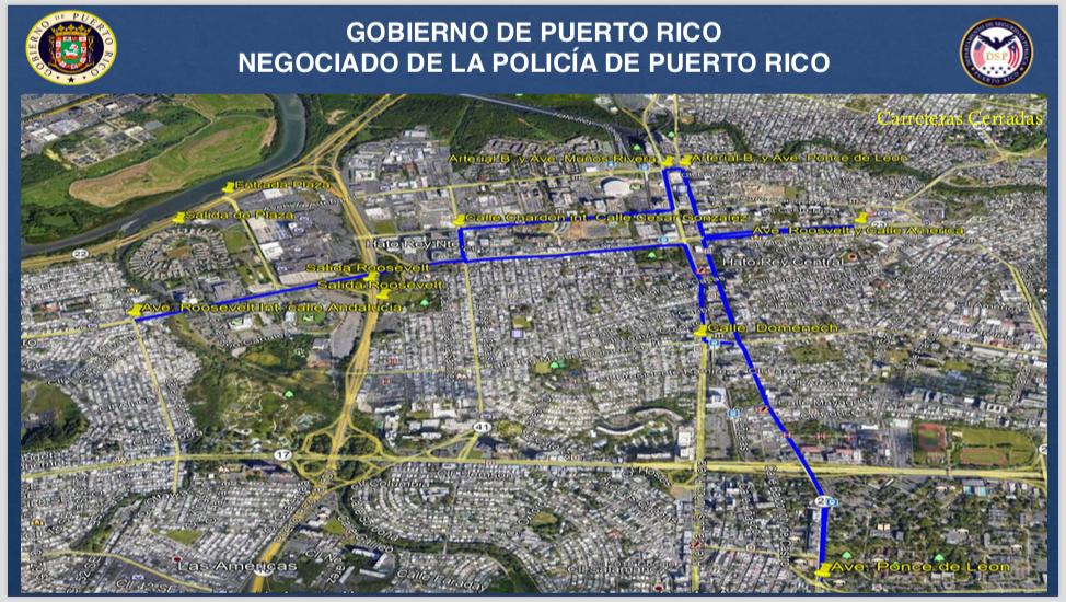 Mapa calles cerradas Día del Trabajo