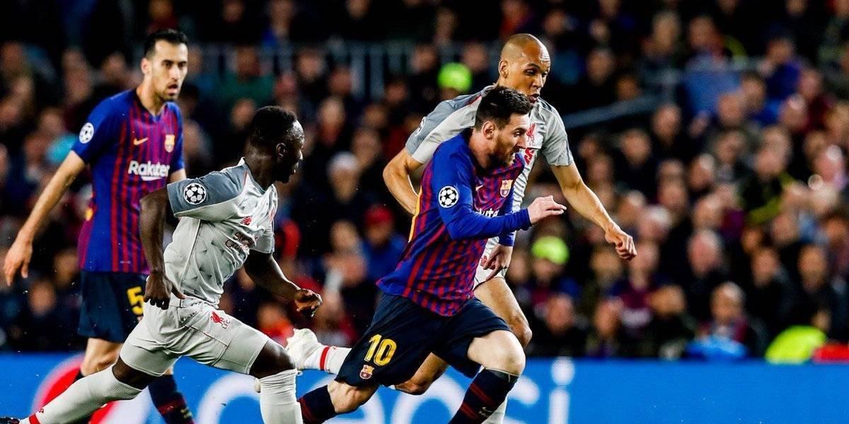 Messi celebra ante Liverpool su gol 600