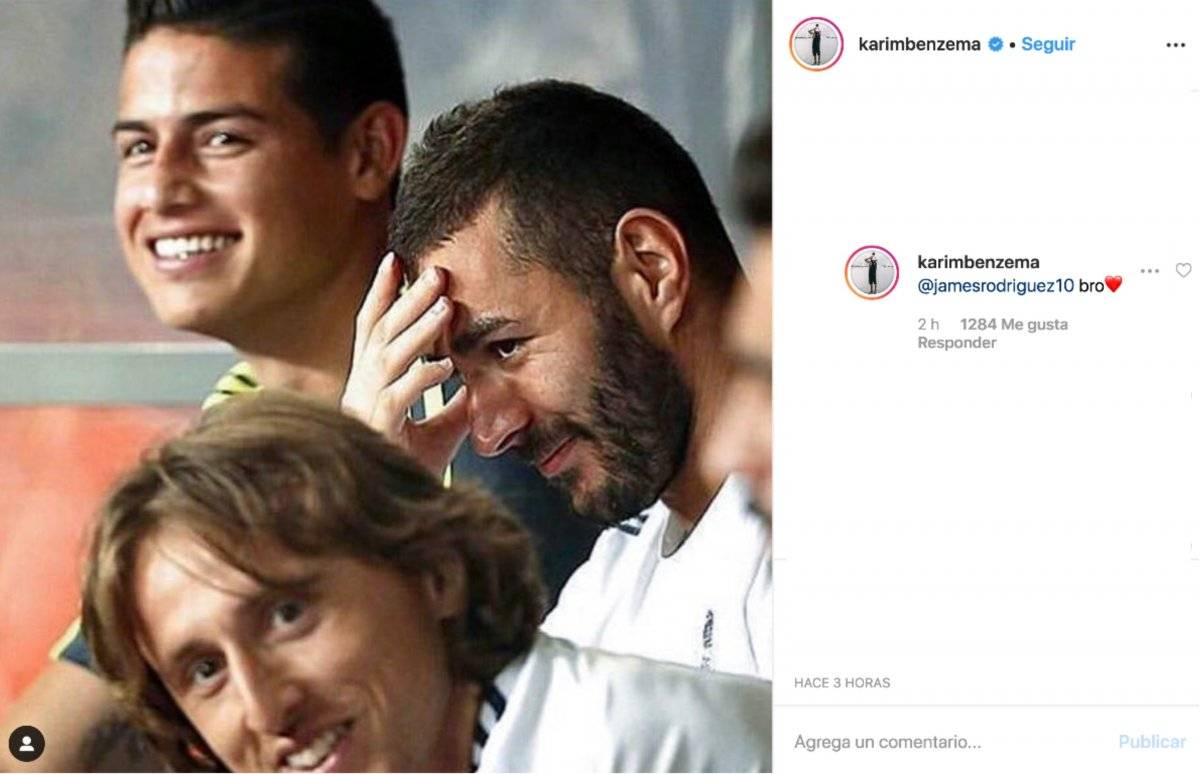 Benzema a James en Instagram