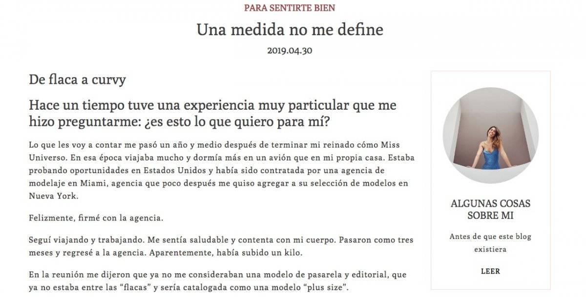 Captura de pantalla página web Paulina Vega
