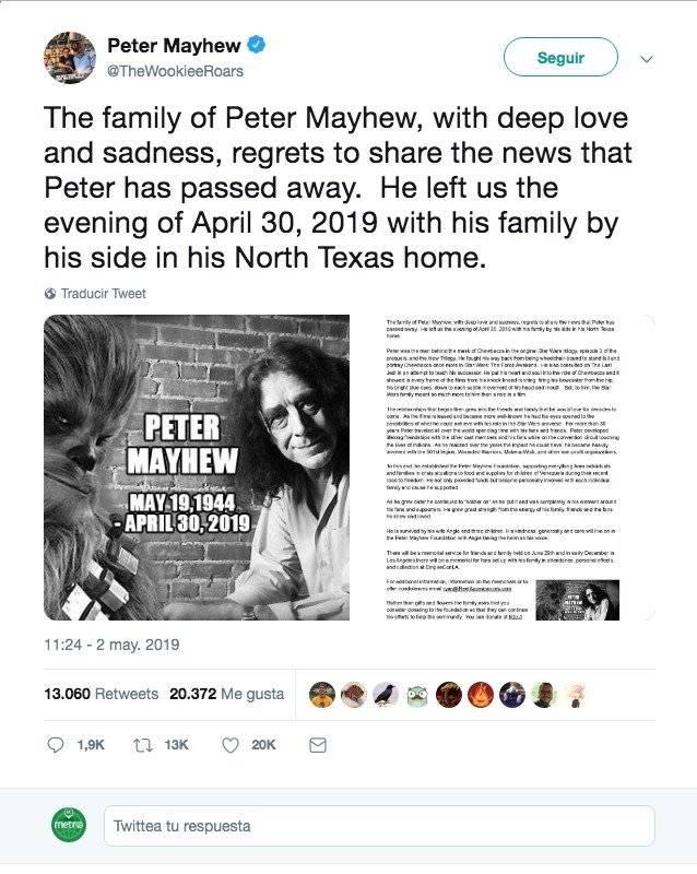 Muere Peter Mayhew, quien dio vida Chewbacca en Star Wars