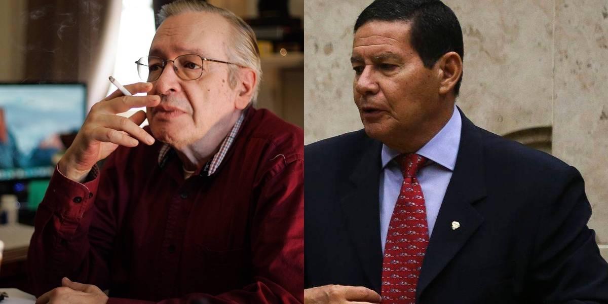 Bolsonaro equipara Olavo de Carvalho e ministros a Hamilton Mourão em condecoração
