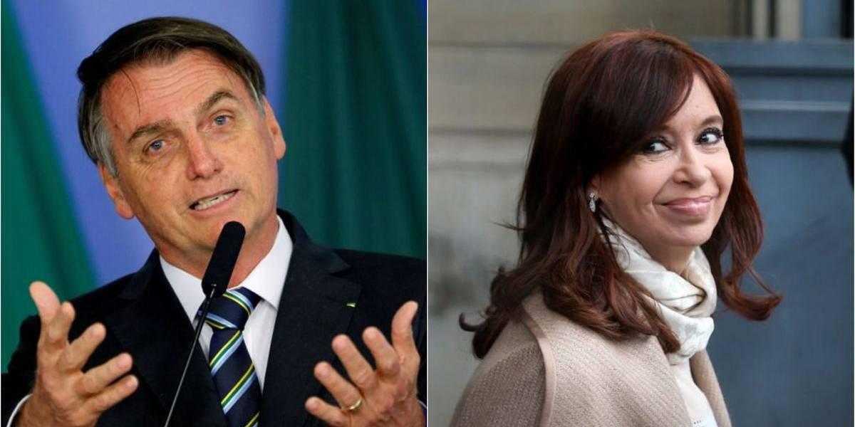 Bolsonaro diz que torce para que Cristina Kirchner não seja eleita na Argentina