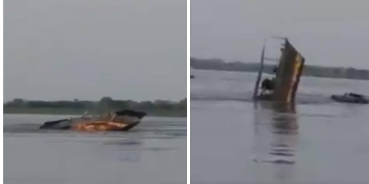 ¡Impactante video! Buque de la Armada Nacional se hundió en el río Magdalena