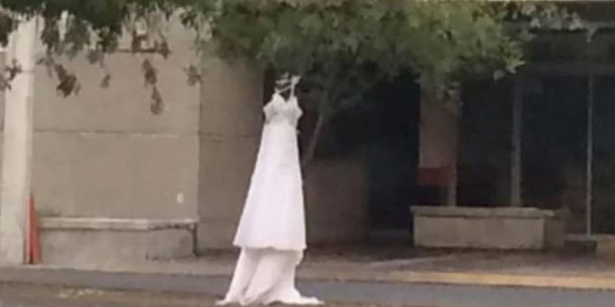 """""""¿""""Te querías casar, perro infiel?"""": mexicana denunció la infidelidad de su pareja colgando en plena calle su vestido de novia"""