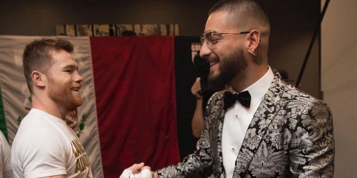 Maluma se presenta en la T-Mobile Arena para apoyar a 'Canelo'