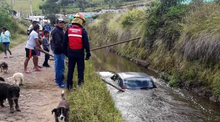 Accidente de tránsito en la Calle Olmedo, sector El Tejar de Yaruquí.