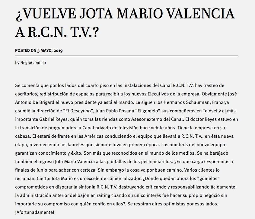 La Negra Candela dice que Jota Mario regresa a RCN