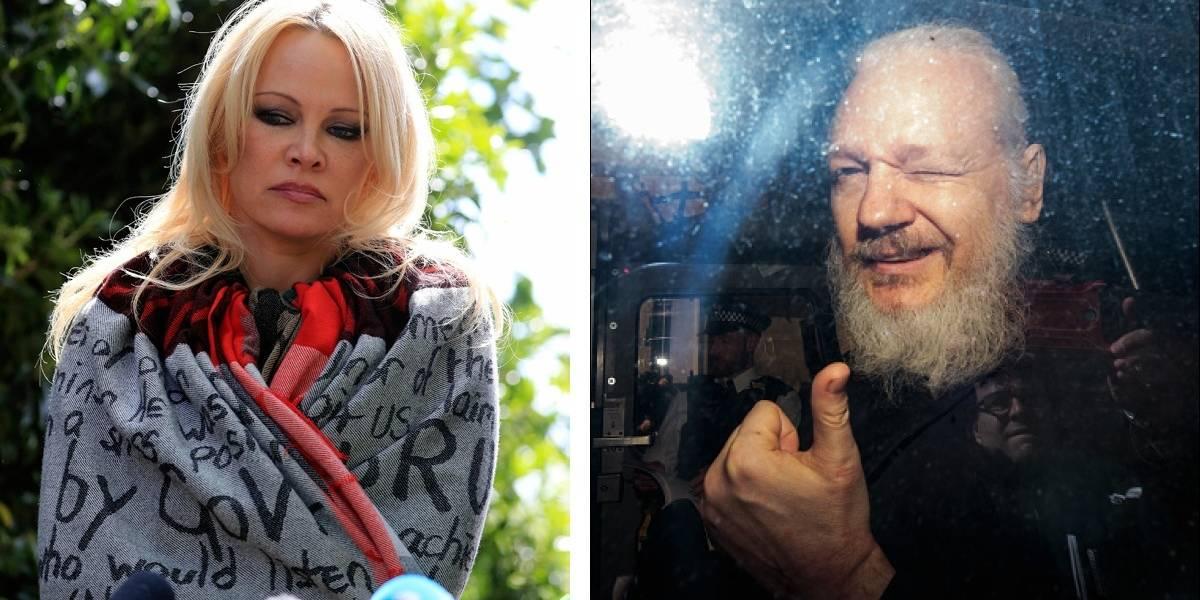 La actriz Pamela Anderson visitó a Julian Assange