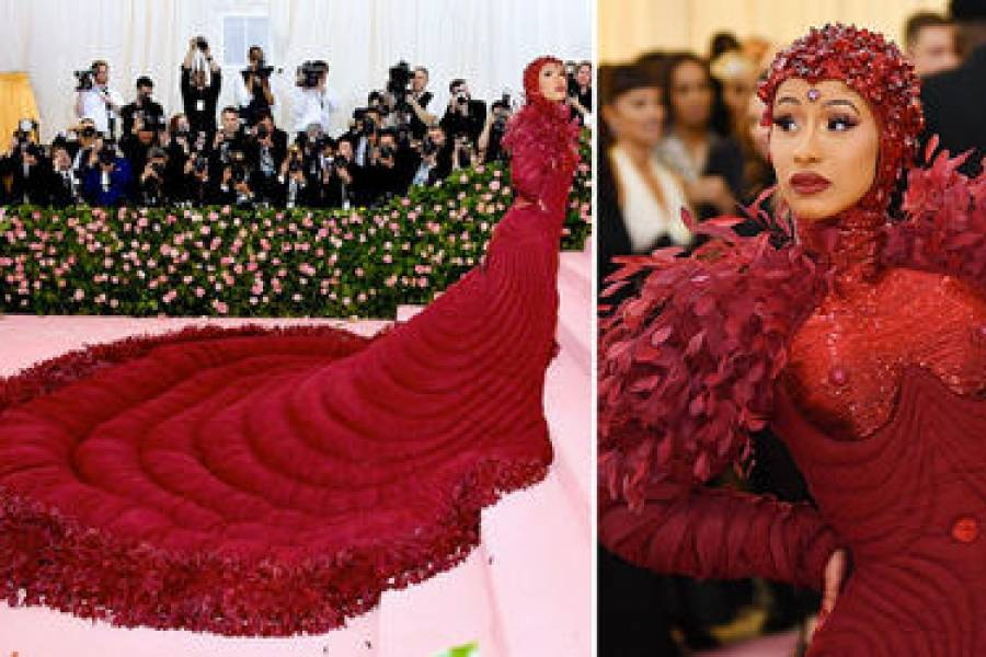 "daf1f19a566 Cardi B lució impactante vestido rojo en ""Met Gala 2019"" | Metro ..."