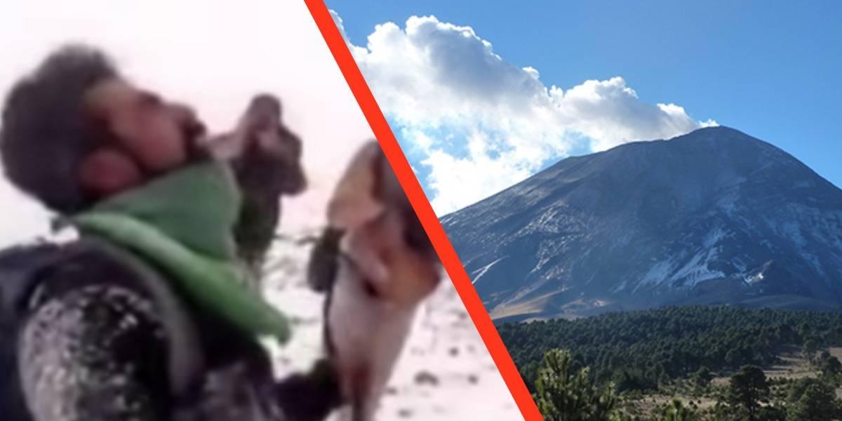 Un grupo de personas deciden arriesgar sus vidas al escalar el volcán Popocatépetl