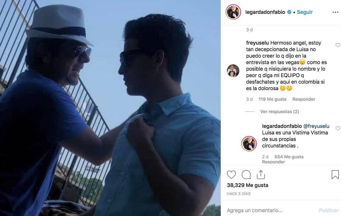 Captura de pantalla Instagram Fabio Legarda