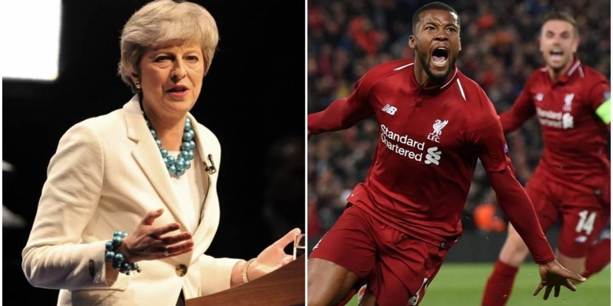 May compara su batalla sobre el Brexit con la remontada del Liverpool