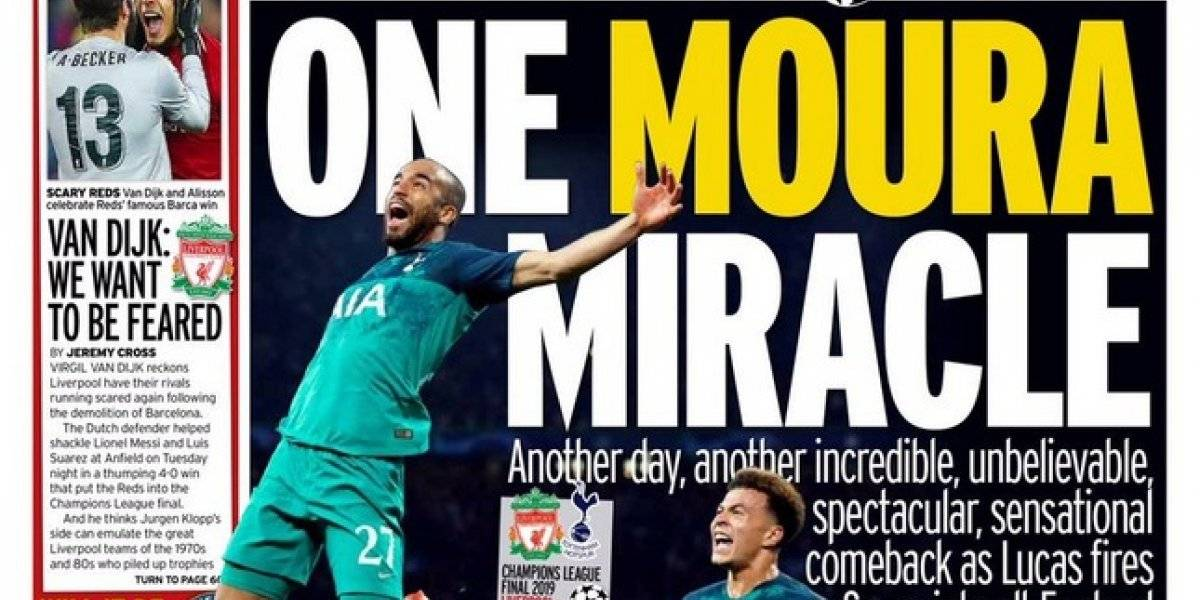 """One Moura miracle"": Las portadas inglesas deliraron con la proeza del Tottenham ante Ajax"