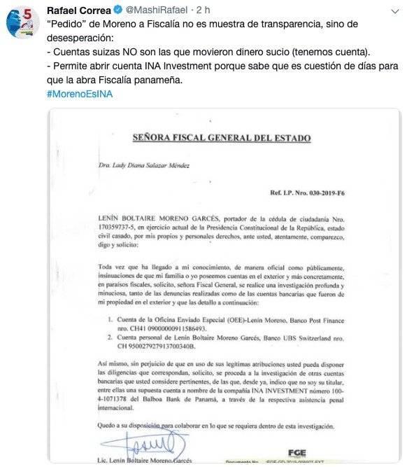 Reacción de Rafael Correa