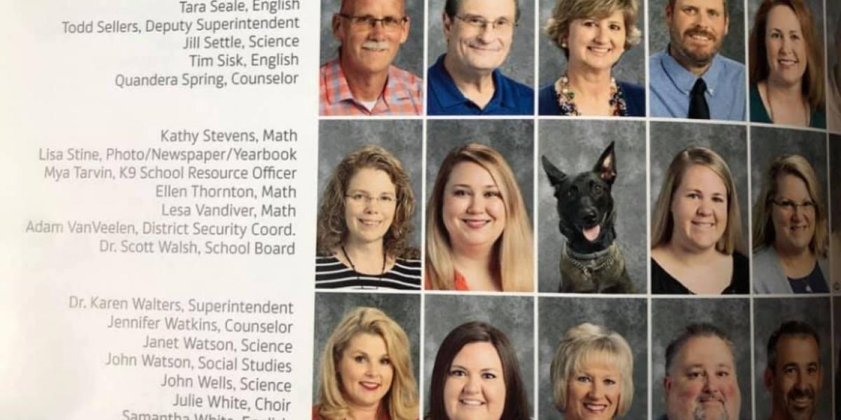 """""""Me encanta esa sonrisa"""": perrita de la policía trabaja en un colegio y pusieron su foto en el anuario como un miembro más"""