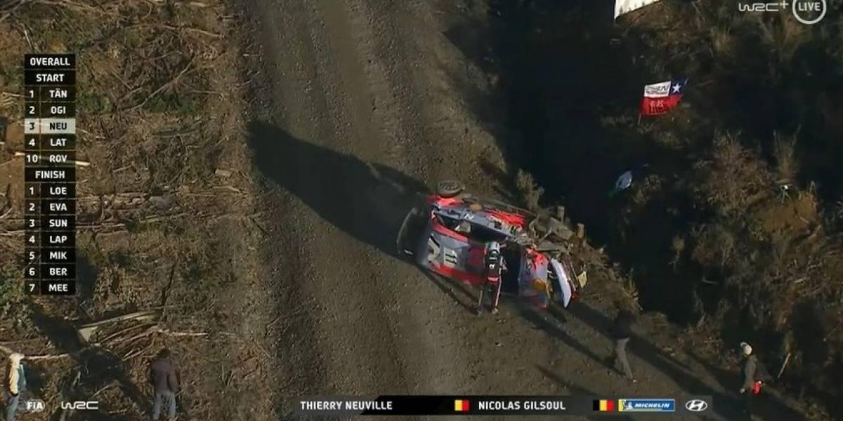 El líder del Mundial Thierry Neuville sufre violento accidente y abandona prematuramente el Rally de Chile