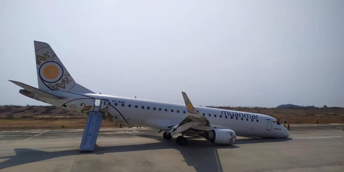 Sem pneus dianteiros, avião faz pouso de emergência em Mianmar
