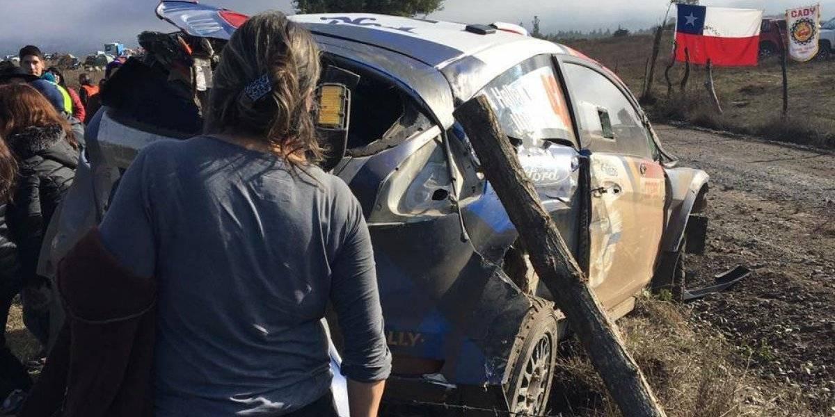 Se acabó el sueño mundial: Alberto Heller abandonó tras volcar en el WRC de Concepción