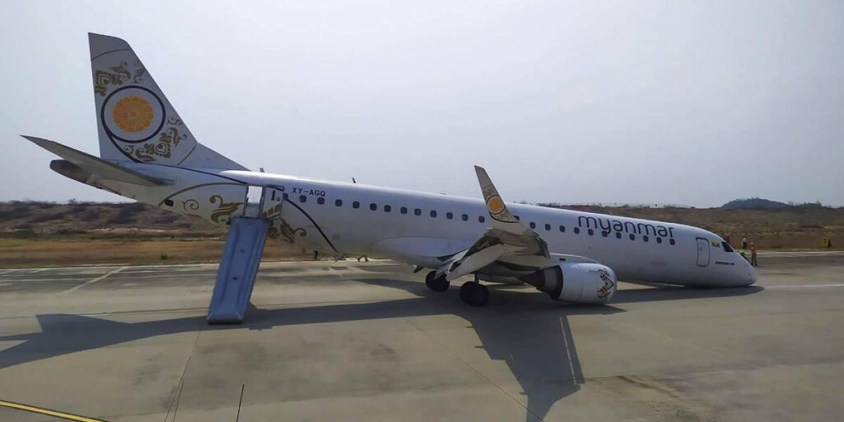 El piloto realizó una verdadera proeza: así fue el milagroso aterrizaje del avión que quedó sin ruedas delanteras en Myanmar