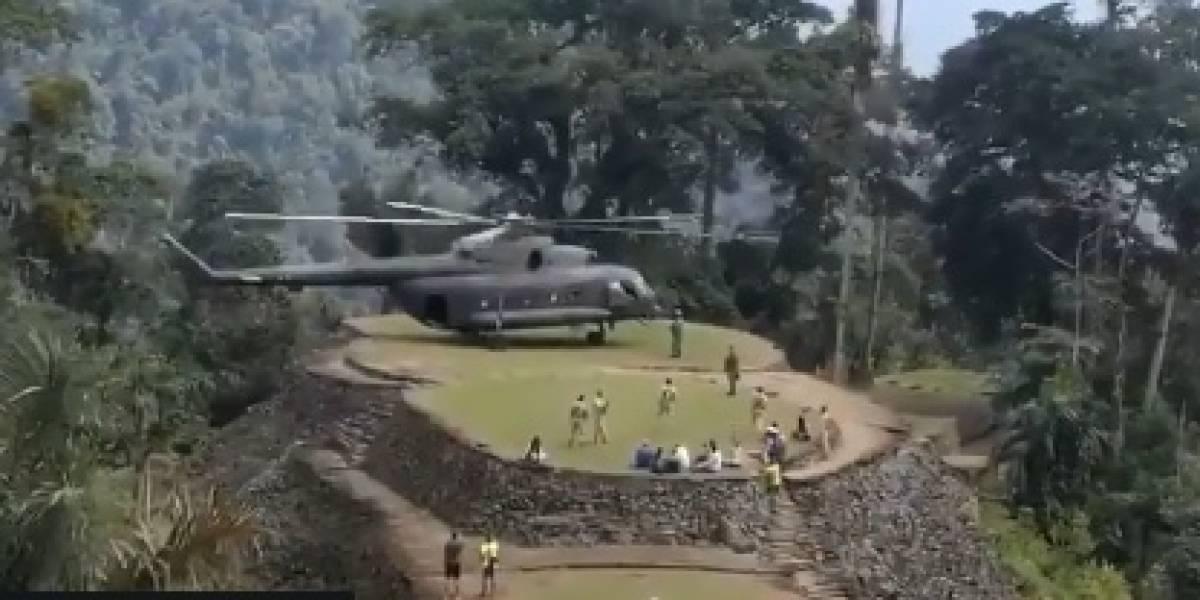 En paseo familiar: Denuncian que helicóptero militar aterrizó en ruinas de Ciudad Perdida