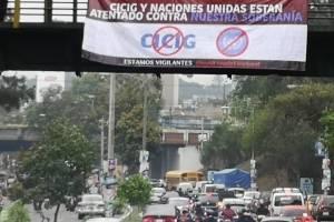 manta contra CICIG en Pamplona