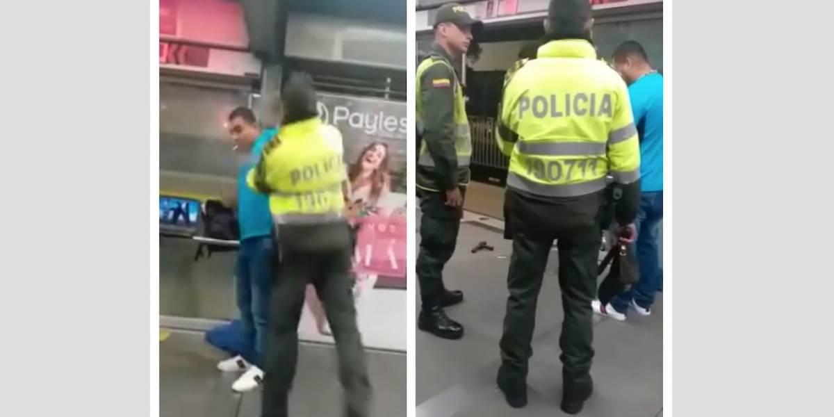 VIDEO: Policía golpeó a usuario de TransMilenio que encendió un cigarrillo
