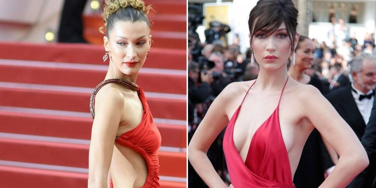 Bella Hadid la hizo otra vez en Cannes y de nuevo de rojo