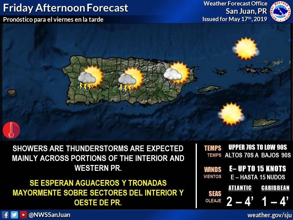Pronostico del tiempo para Puerto Rico