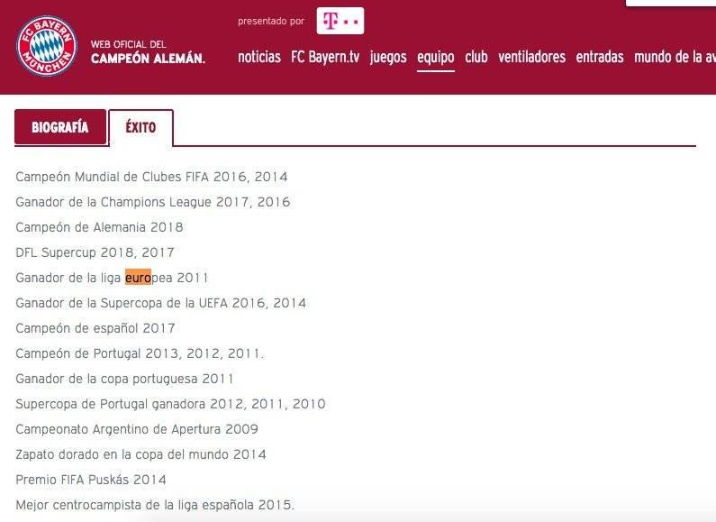 Títulos de James Rodríguez según Bayern München