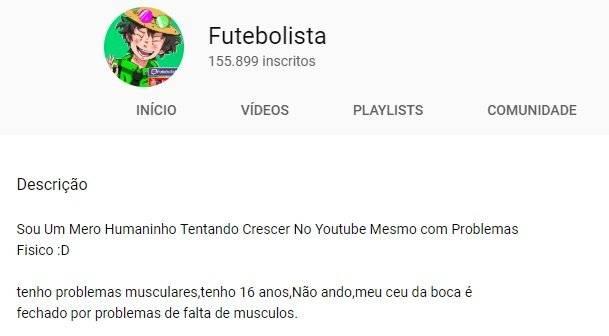 Futebolista canal no YouTube