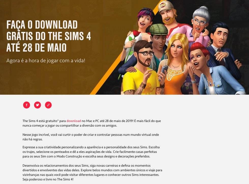 the sims 4 anúncio ea