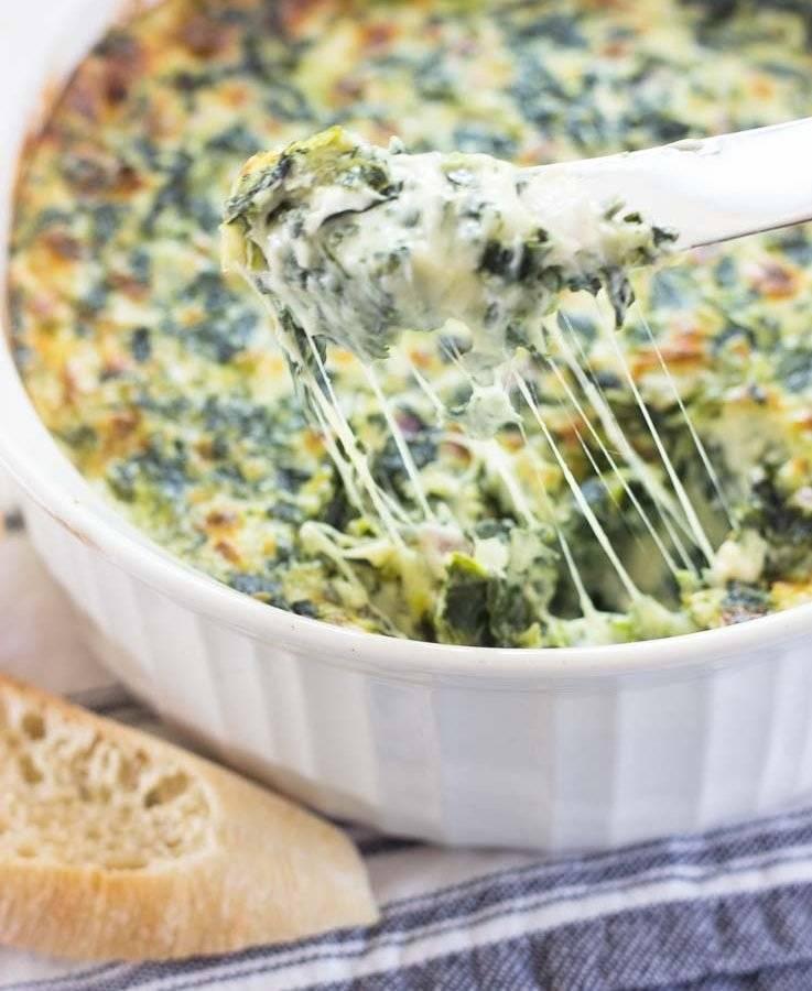 dip de espinacas y queso