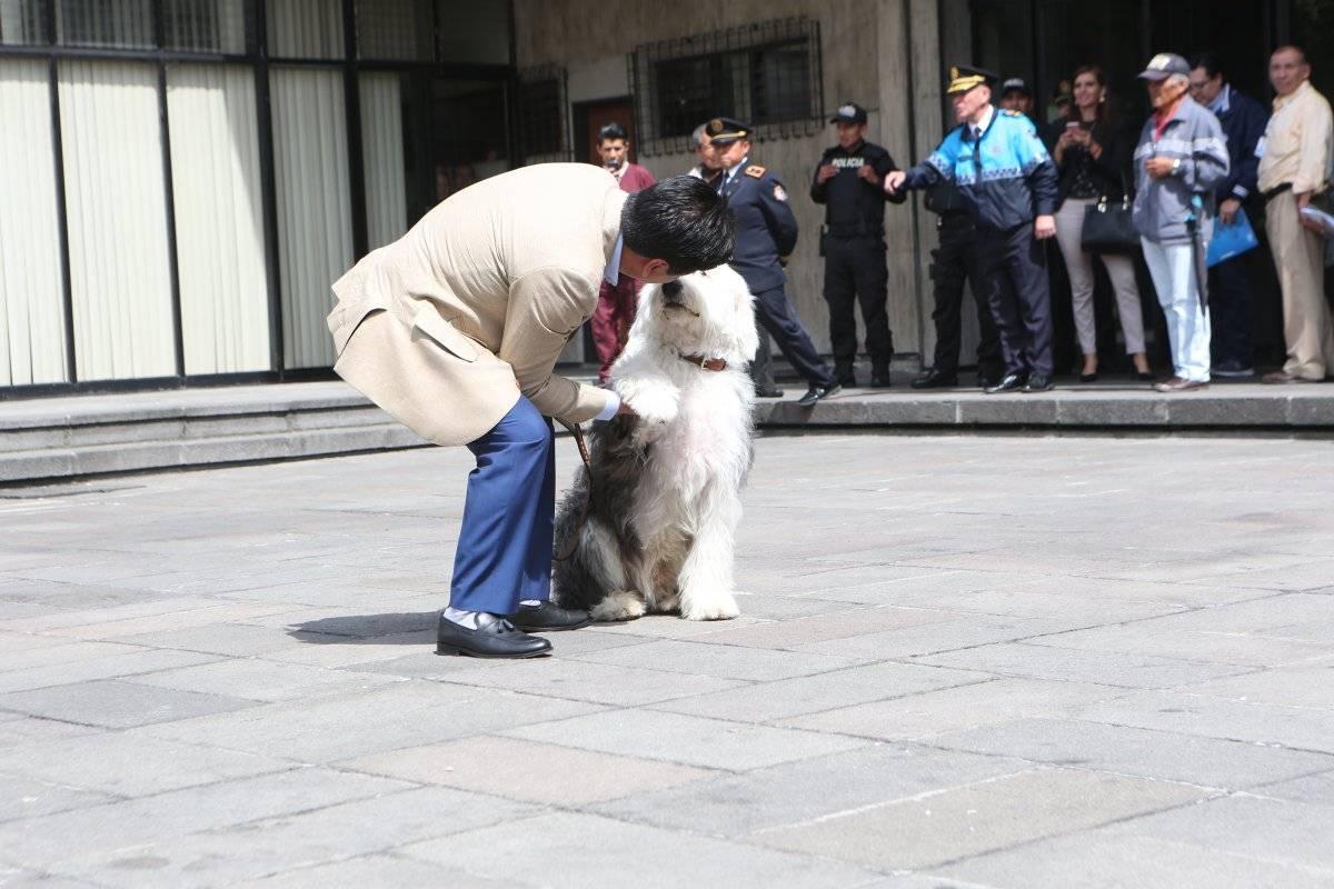 Alcalde de Quito, Jorge Yunda, junto con su perro Zeus