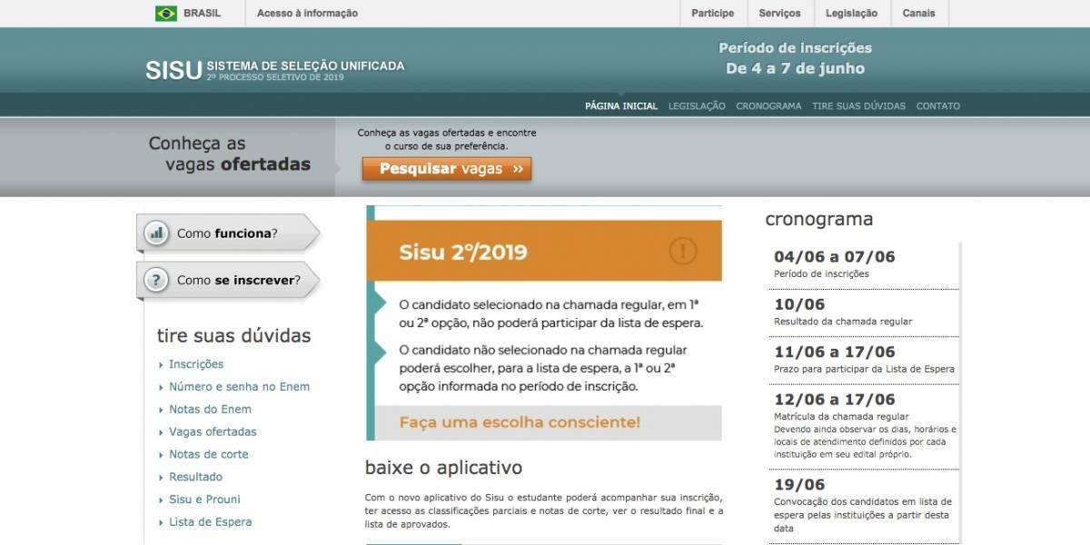 Sisu 2019.2: MEC libera consulta para vagas em universidades públicas; veja lista