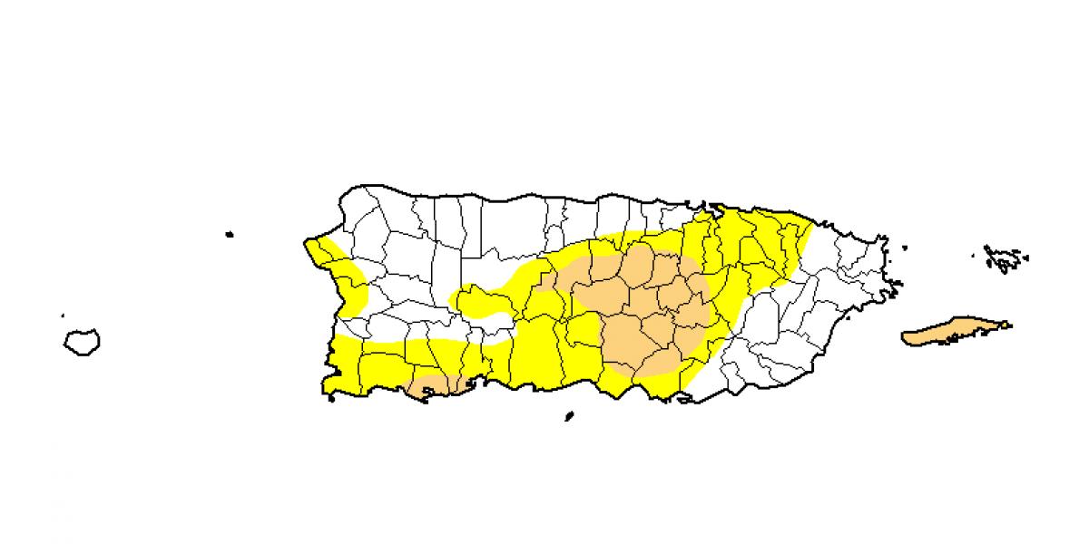 Aumento en sequía anómala y sequía moderada