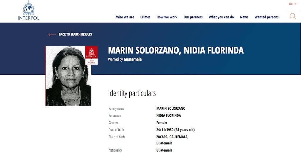 Nidia Floridalma Marín Solórzano, buscada por la Interpol. Foto: Publinews