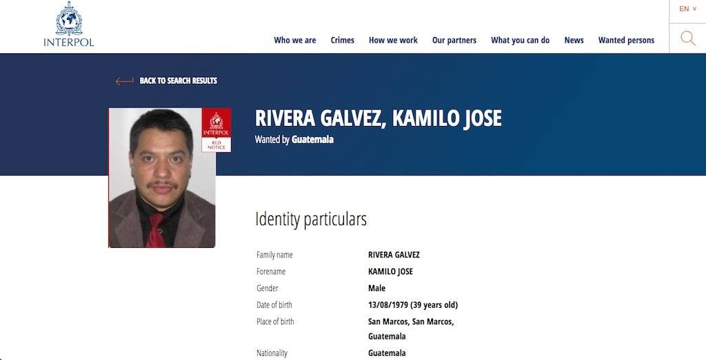 Kamilo José Rivera Gálvez, buscado por la Interpol. Foto: Publinews