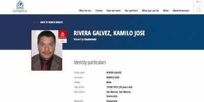Kamilo José Rivera Gálvez, buscado por la Interpol.